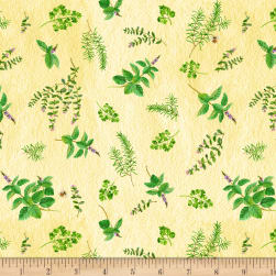 From the Garden Herb Toss Yellow Fabric