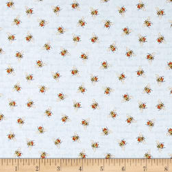 From the Garden Bees Allover Blue Fabric