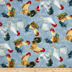 Early to Rise Roosters Allover Blue Fabric