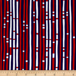 Kanvas Love American Style Geo Stripe Navy Fabric