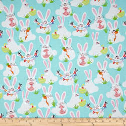 Kanvas Funny Bunnies Aqua Fabric