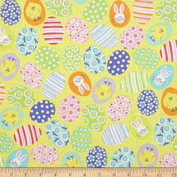 Kanvas Funny Bunnies Decorated Eggs Yellow Fabric