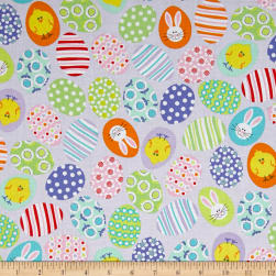 Kanvas Funny Bunnies Decorated Eggs Lavender Fabric