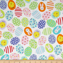 Kanvas Funny Bunnies Decorated Eggs White Fabric