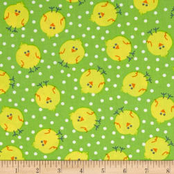 Kanvas Funny Bunnies Chicky Chicks Lime Fabric