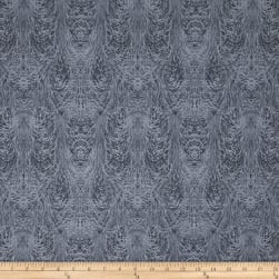 Chalk Effects Feathers Grey Fabric