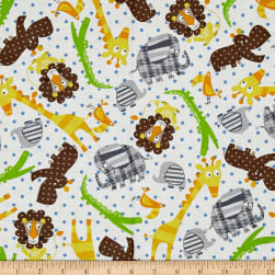 Kanvas Zoo Baby Zoo Animals White Fabric