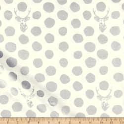 Kokka Sambar Canvas Metallic Dots Cream/Silver