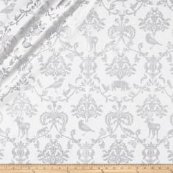 Kokka Classic Animals Canvas Metallic White/Silver Fabric