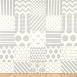 Kokka Piece Canvas Metallic Patch White/Silver Fabric