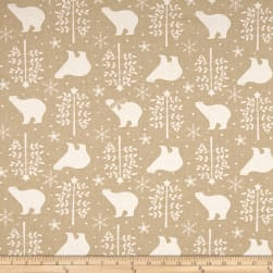 Kokka Trefle Polar Bears Brushed Canvas Tan Fabric