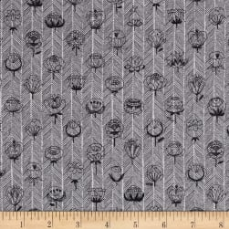 Kokka Trefle Flowers Double Gauze Gray Fabric