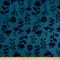 Kokka Trefle Nature Double Gauze Blue Black Fabric