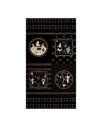 Lecien Girls Story Alice Canvas 23.5'' Panel Black Fabric