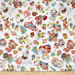 Loralie Designs Blossom Blossom Tossed White Fabric