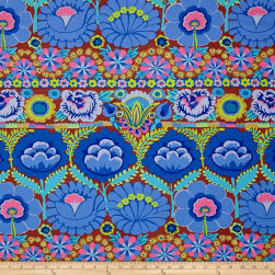 Artisan by Kaffe Fasset Embroidered Flower Blue Fabric