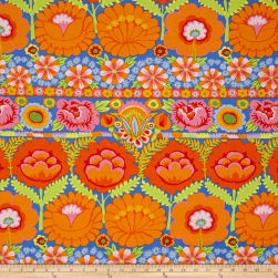 Artisan by Kaffe Fasset Embroidered Flower Orange Fabric