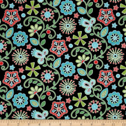 Sewing Room Embroidery Black Fabric