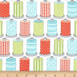 Sewing Room Spools White Fabric