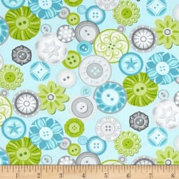 Sewing Room Buttons Aqua Blue Fabric