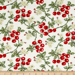 Simply Chic Cherries White Fabric