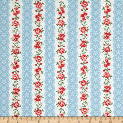 Simply Chic Flora Eye Ribbon Sky Blue Fabric