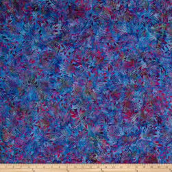 Benartex Balis Batik Color Pop Lilly Leaves Blue/Pink