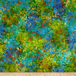 Benartex Balis Batik Color Pop Wild Flowers Blue/Green