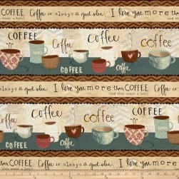 But First, Coffee! Repeating Stripe Multi Fabric
