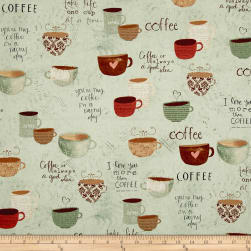 But First, Coffee! Large Allover Teal Fabric