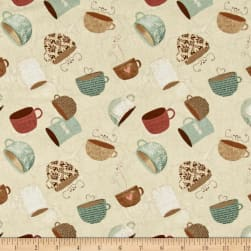 But First, Coffee! Tossed Coffee Cups Cream Fabric