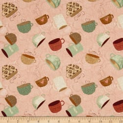 But First, Coffee! Tossed Coffee Cups Pink Fabric