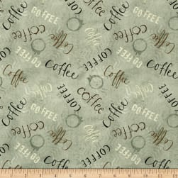 But First, Coffee! Words Allover Teal Fabric