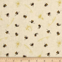 Follow the Sun Bumblebees Allover Cream Fabric
