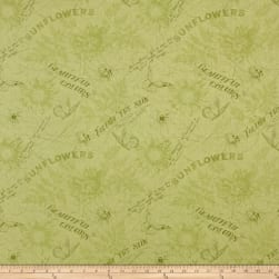 Follow the Sun Toile Green Fabric