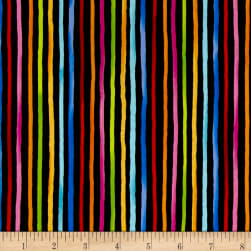 Loralie Designs Cool Cats Happy Stripe Black Fabric