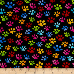 Loralie Designs Cool Cats Paws Black Fabric