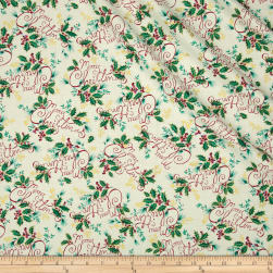 Holiday Editions Words Merry Christmas Ecru Fabric
