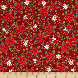 Season's Greetings Poinsettias Red Metallic Fabric