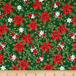 Season's Greetings Pointsetta Green Metallic Fabric