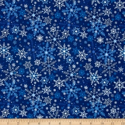 Season's Greetings Snowflakes Navy Metallic Fabric