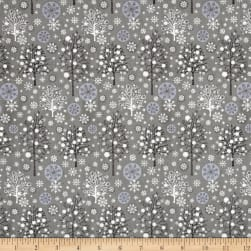 Season's Greetings Trees Grey Metallic Fabric