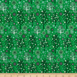 Season's Greetings Trees Green Metallic Fabric