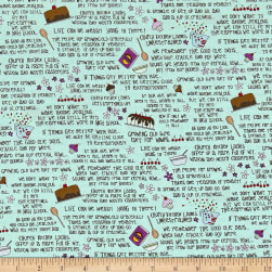 Church Ladies Words Aqua Fabric