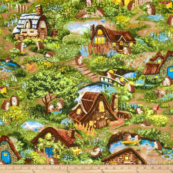 Hedgehog Village Scenic Allover Multi Fabric