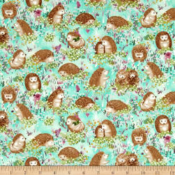 Hedgehog Village Hedgehogs Turquoise Fabric