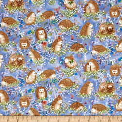 Hedgehog Village Hedgehogs Blue Fabric