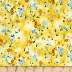 Hedgehog Village Wildflowers Yellow Fabric