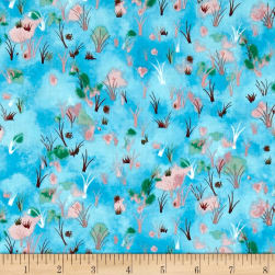 Hedgehog Village Wildflowers Turquoise Fabric