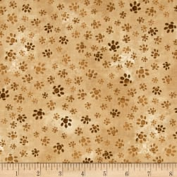 Hedgehog Village Paw Tracks Brown Fabric